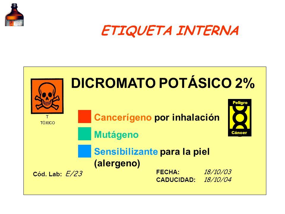 DICROMATO POTÁSICO 2% ETIQUETA INTERNA Cancerígeno por inhalación