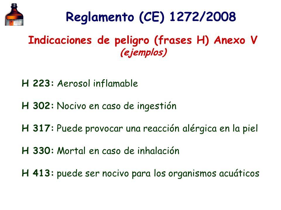 Indicaciones de peligro (frases H) Anexo V