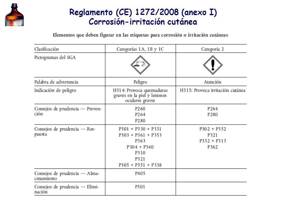 Reglamento (CE) 1272/2008 (anexo I) Corrosión-irritación cutánea