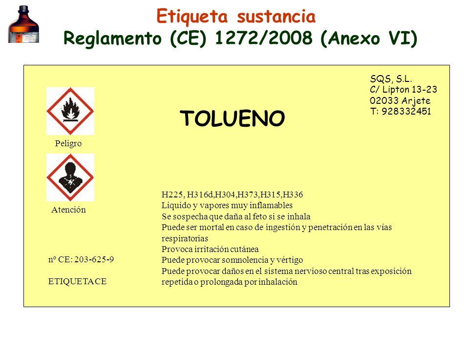 Etiqueta sustancia Reglamento (CE) 1272/2008 (Anexo VI)