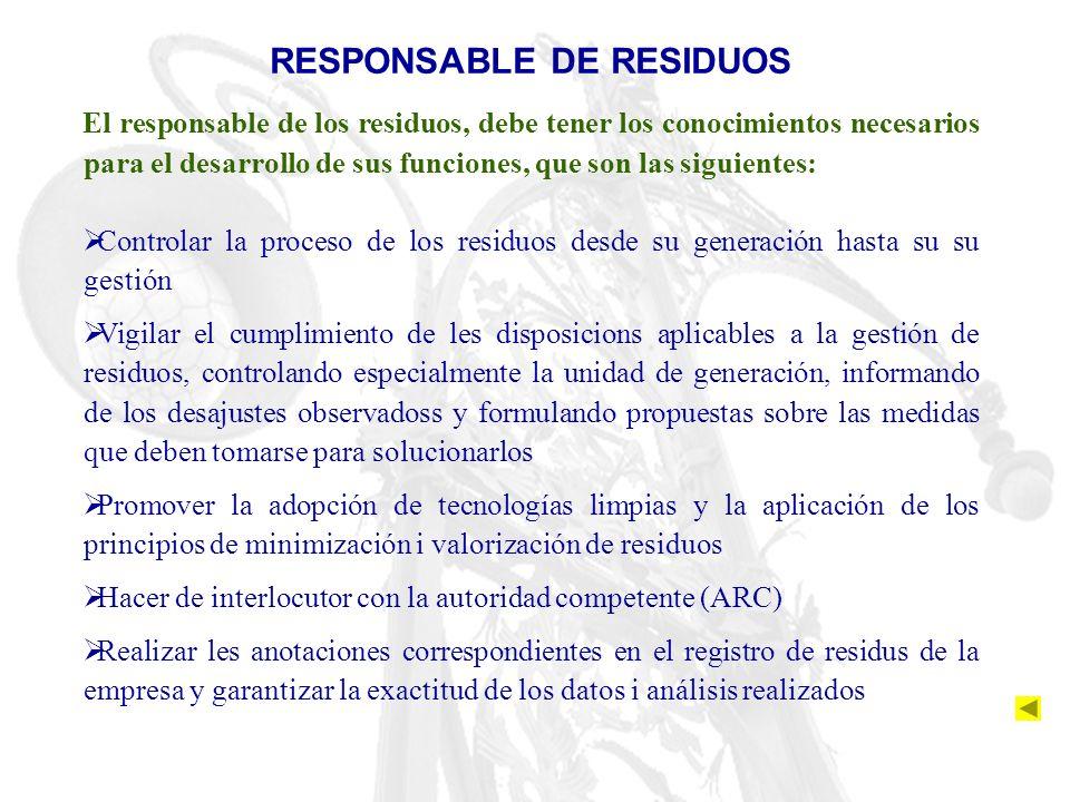 RESPONSABLE DE RESIDUOS