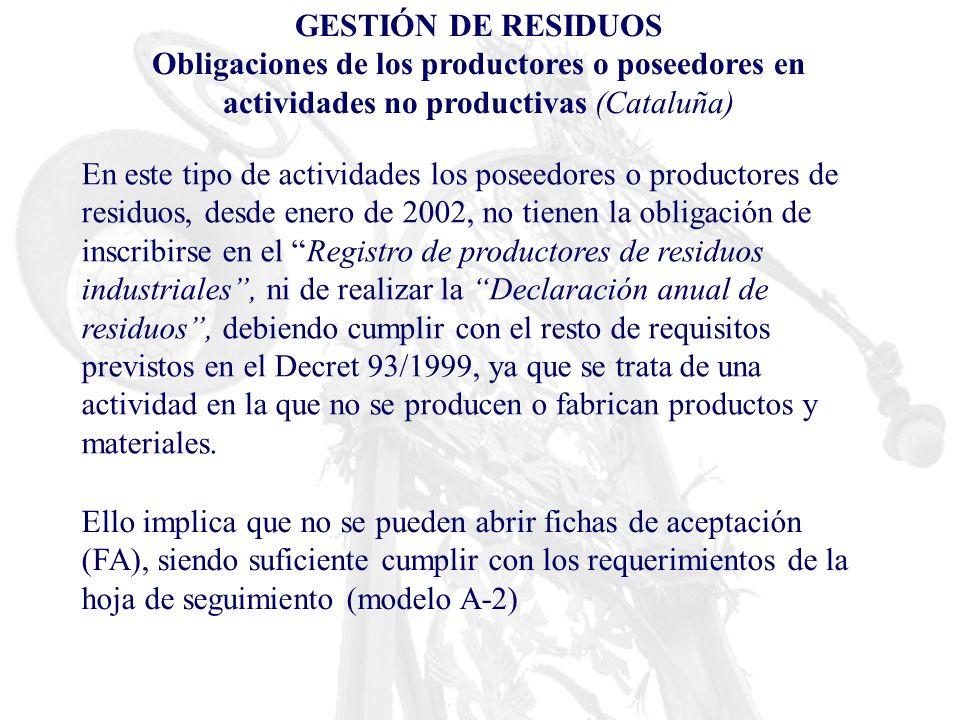 GESTIÓN DE RESIDUOS Obligaciones de los productores o poseedores en actividades no productivas (Cataluña)