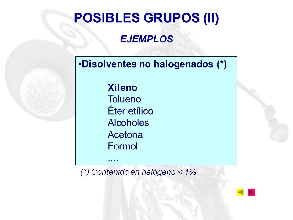 POSIBLES GRUPOS (II) EJEMPLOS Disolventes no halogenados (*) Xileno