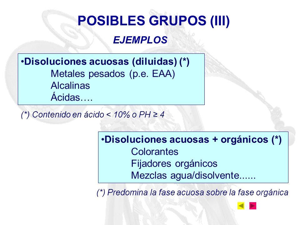 POSIBLES GRUPOS (III) EJEMPLOS Disoluciones acuosas (diluidas) (*)