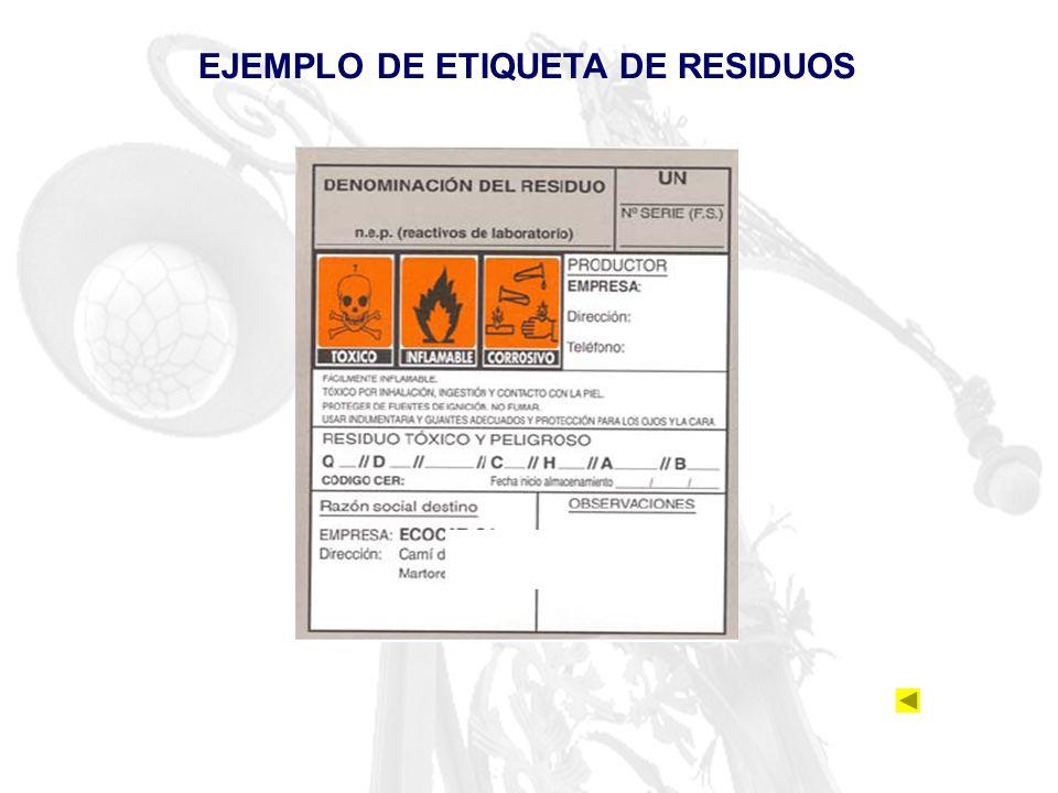 EJEMPLO DE ETIQUETA DE RESIDUOS