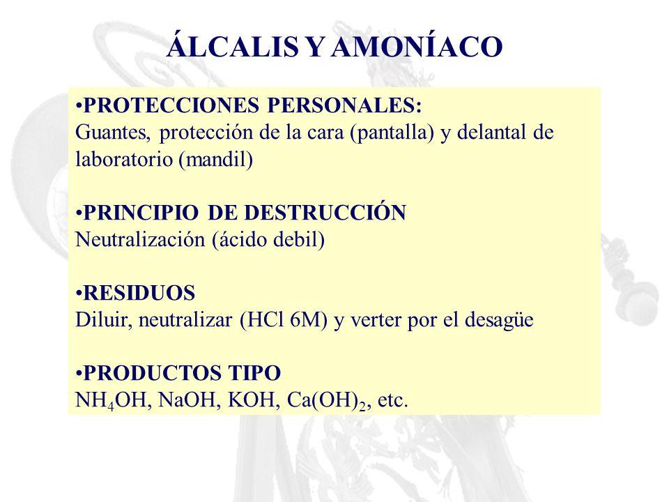 ÁLCALIS Y AMONÍACO PROTECCIONES PERSONALES: