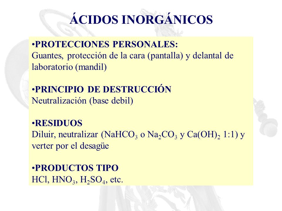 ÁCIDOS INORGÁNICOS PROTECCIONES PERSONALES: