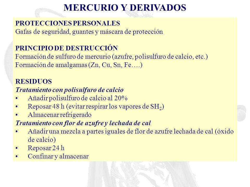 MERCURIO Y DERIVADOS PROTECCIONES PERSONALES