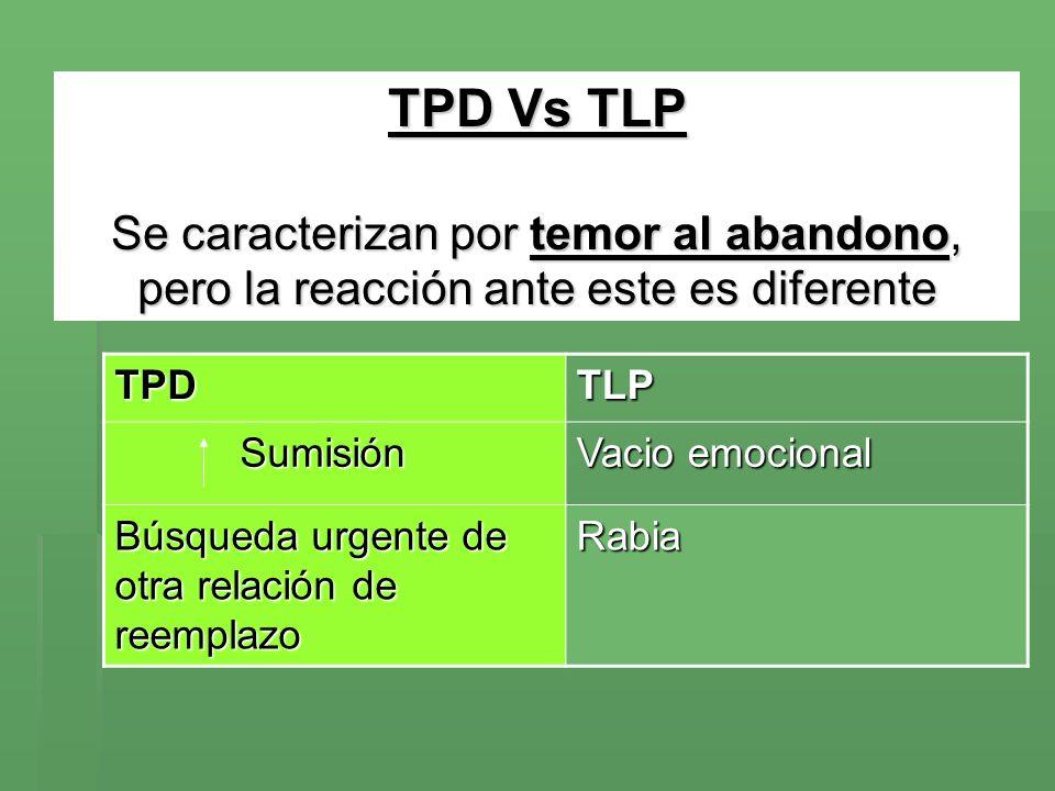 TPD Vs TLP Se caracterizan por temor al abandono, pero la reacción ante este es diferente