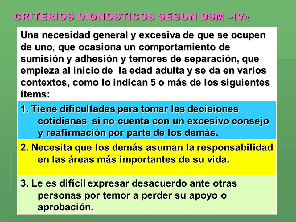 CRITERIOS DIGNOSTICOS SEGUN DSM –IVR