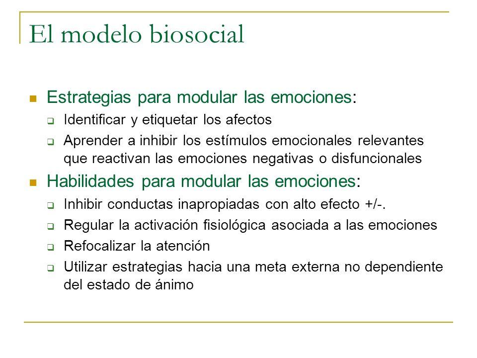 El modelo biosocial Estrategias para modular las emociones: