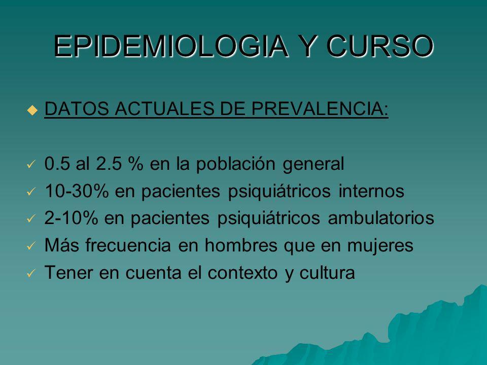 EPIDEMIOLOGIA Y CURSO DATOS ACTUALES DE PREVALENCIA: