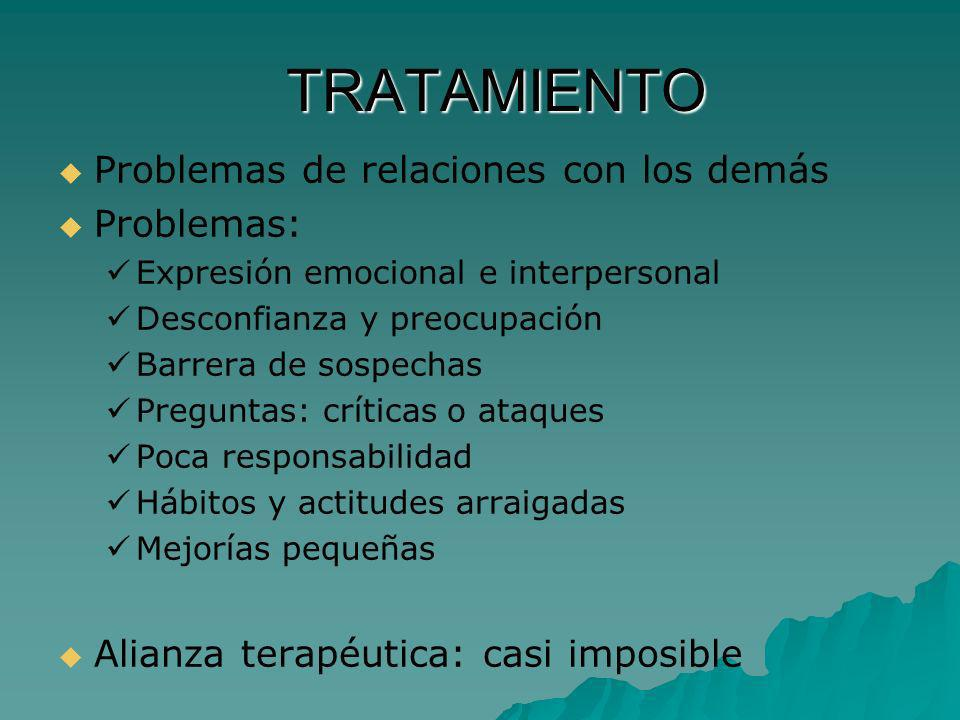 TRATAMIENTO Problemas de relaciones con los demás Problemas: