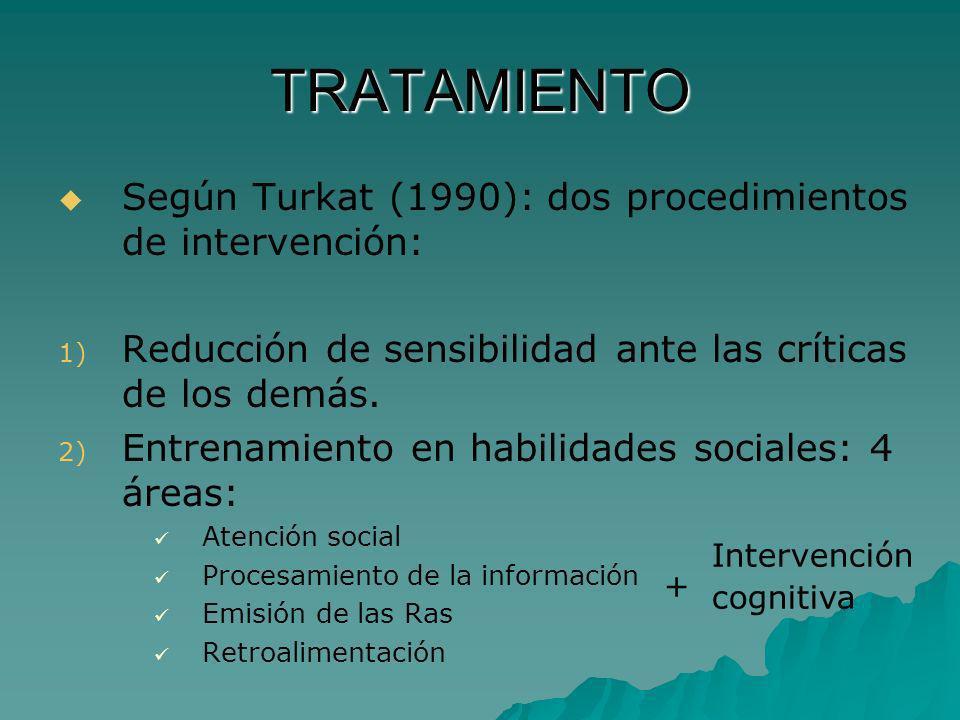 TRATAMIENTO Según Turkat (1990): dos procedimientos de intervención: