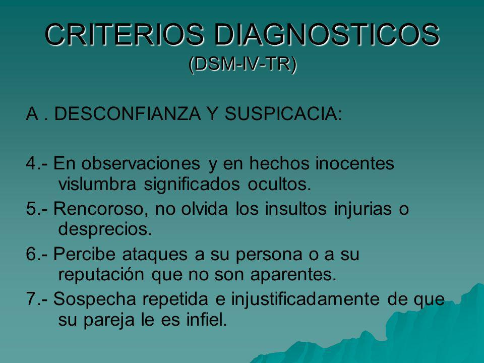 CRITERIOS DIAGNOSTICOS (DSM-IV-TR)