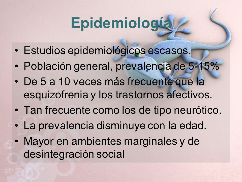 Epidemiología Estudios epidemiológicos escasos.