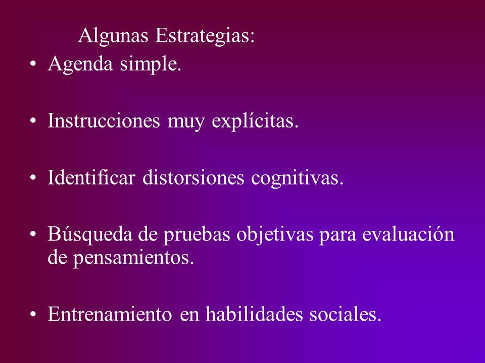 Algunas Estrategias: Agenda simple. Instrucciones muy explícitas. Identificar distorsiones cognitivas.