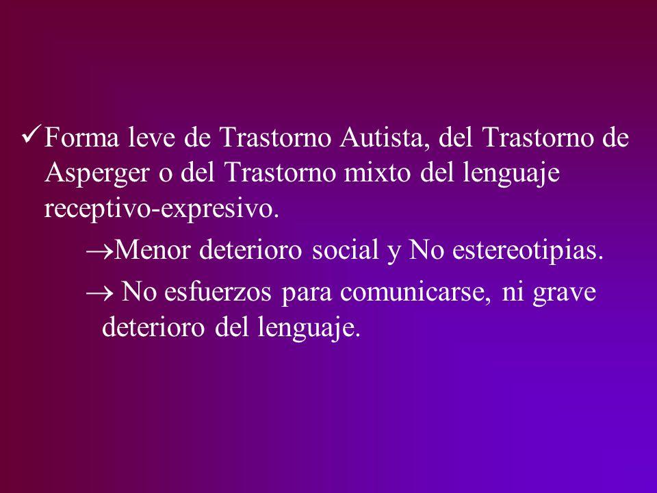 Forma leve de Trastorno Autista, del Trastorno de Asperger o del Trastorno mixto del lenguaje receptivo-expresivo.