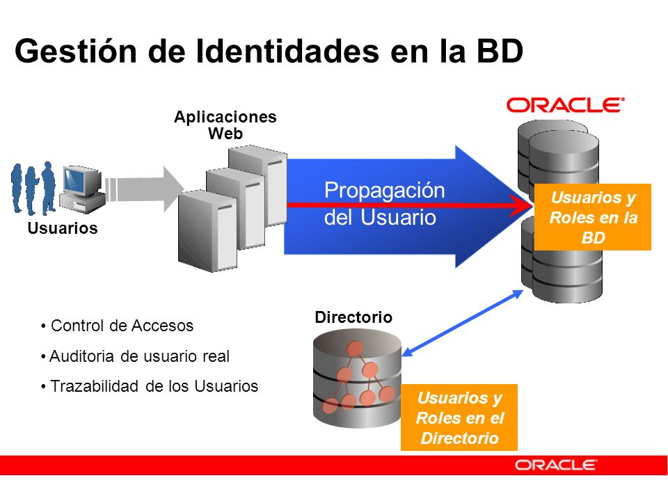 Usuarios y Roles en la BD Usuarios y Roles en el Directorio