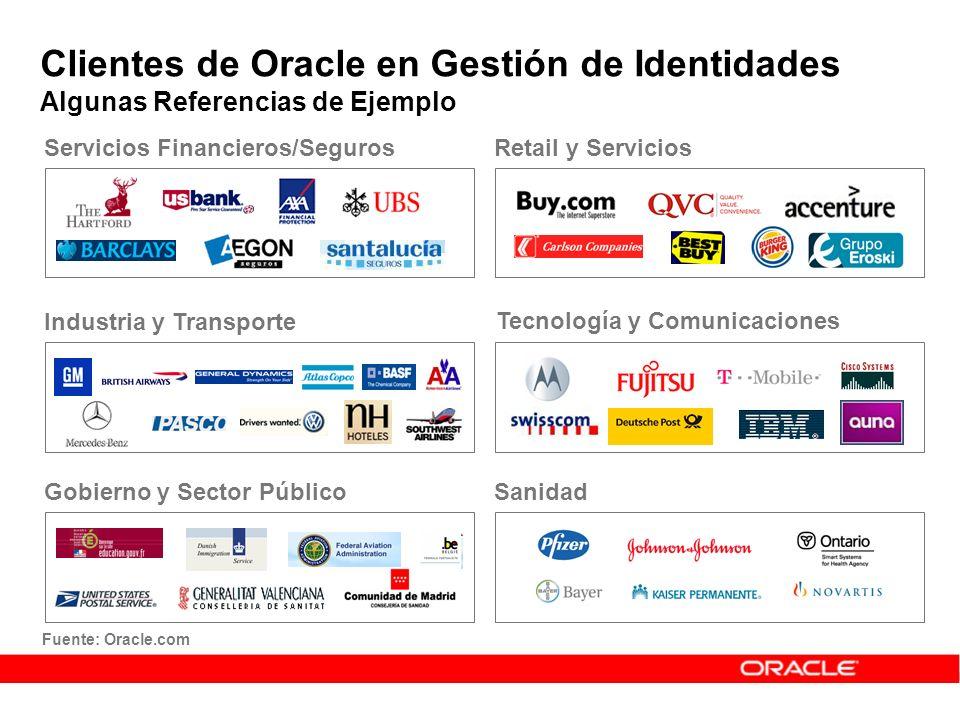 Clientes de Oracle en Gestión de Identidades Algunas Referencias de Ejemplo