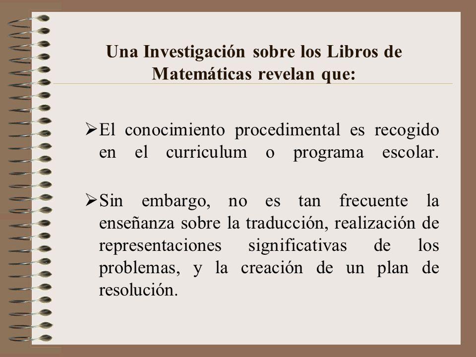 Una Investigación sobre los Libros de Matemáticas revelan que: