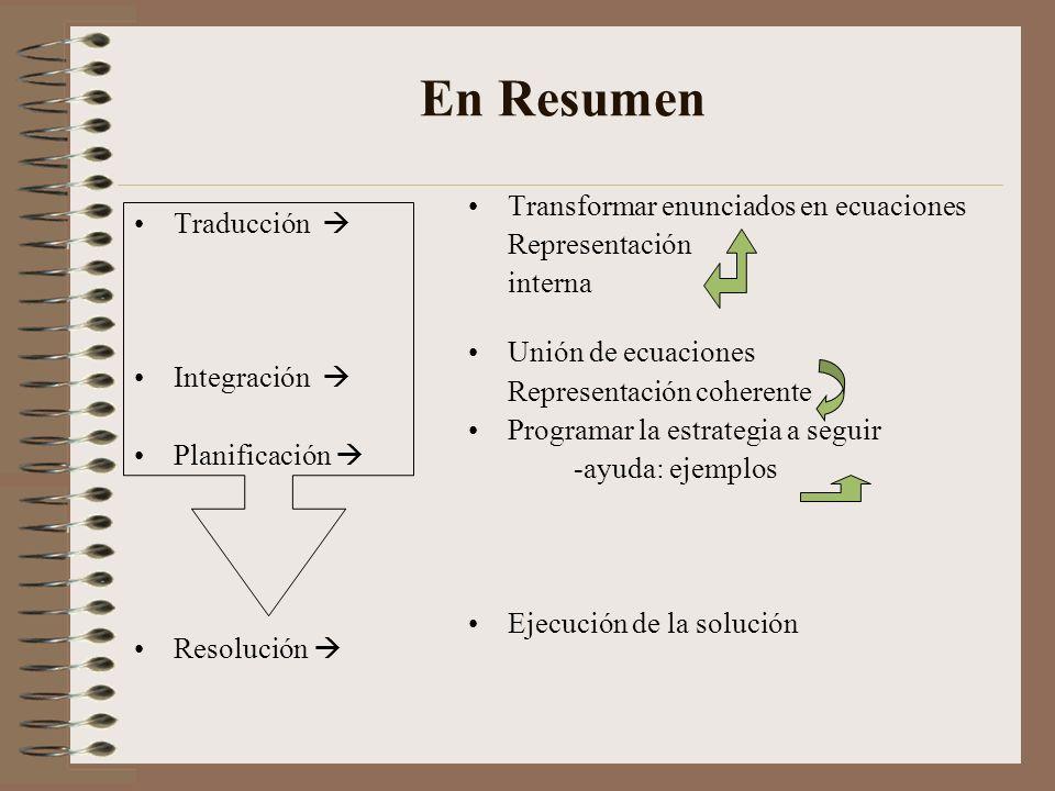 En Resumen Transformar enunciados en ecuaciones Traducción 