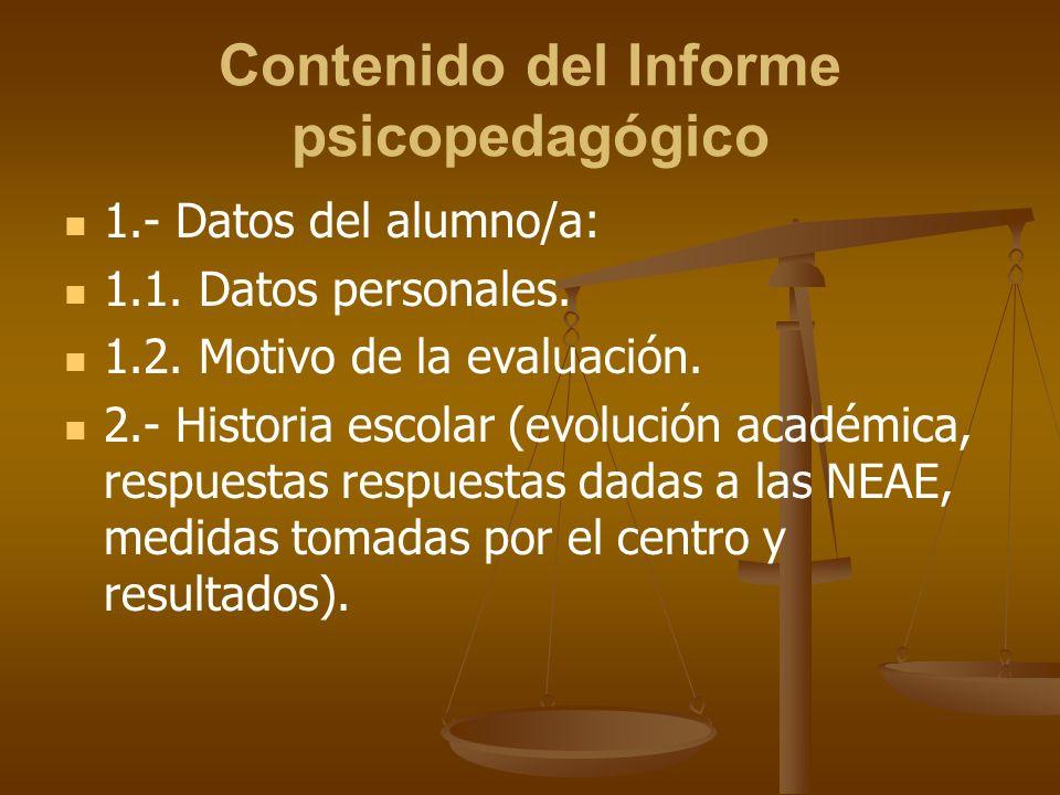 Contenido del Informe psicopedagógico