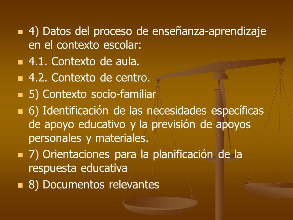 4) Datos del proceso de enseñanza-aprendizaje en el contexto escolar:
