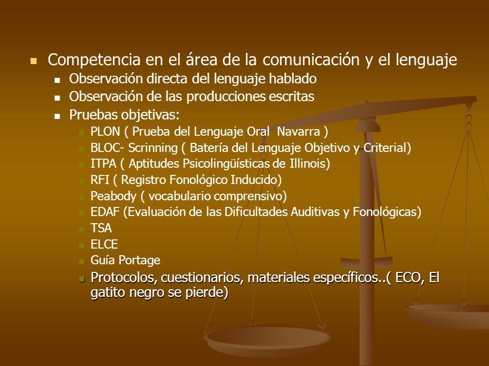 Competencia en el área de la comunicación y el lenguaje
