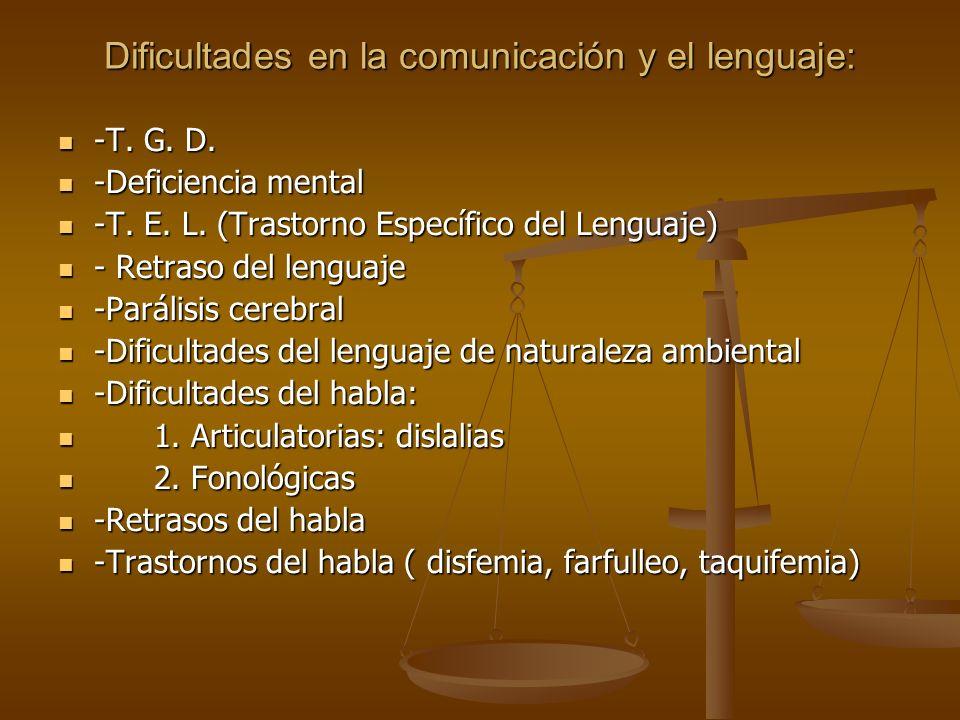 Dificultades en la comunicación y el lenguaje: