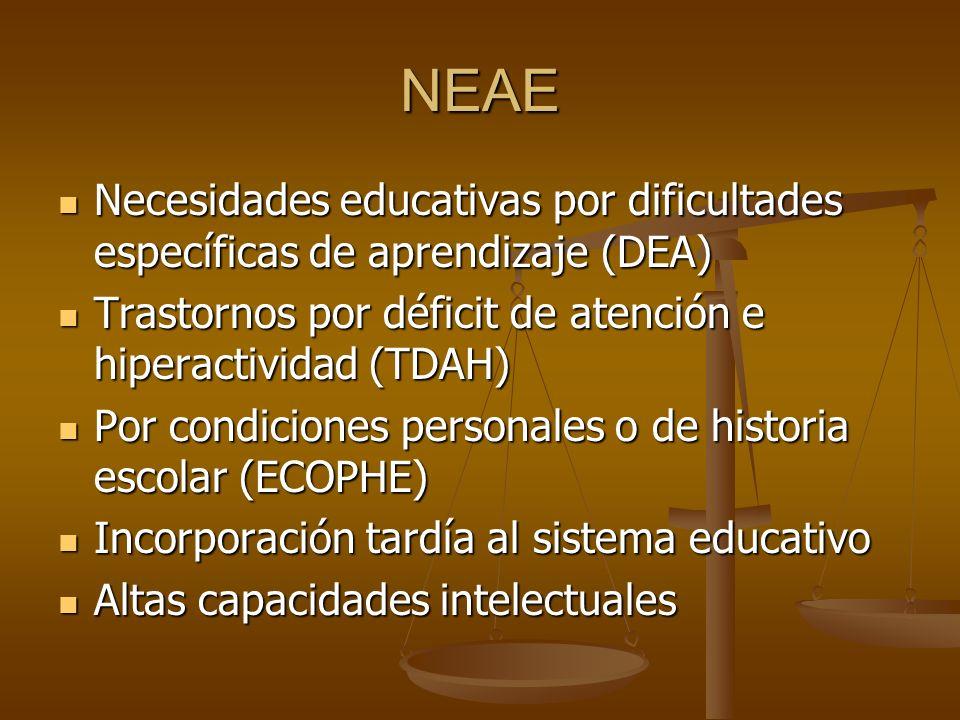 NEAE Necesidades educativas por dificultades específicas de aprendizaje (DEA) Trastornos por déficit de atención e hiperactividad (TDAH)