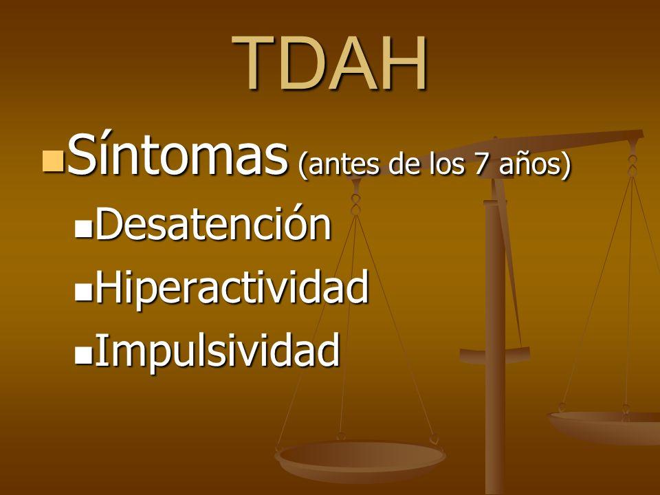 TDAH Síntomas (antes de los 7 años) Desatención Hiperactividad