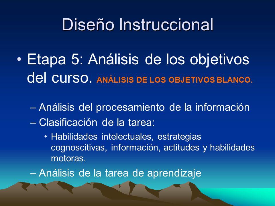 Diseño Instruccional Etapa 5: Análisis de los objetivos del curso. ANÁLISIS DE LOS OBJETIVOS BLANCO.
