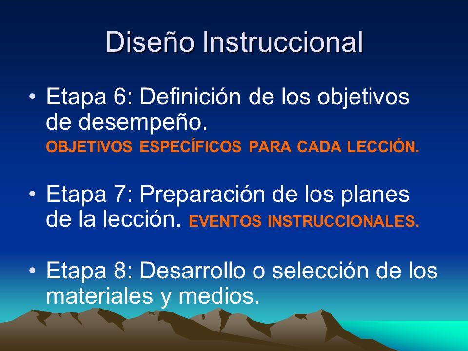 Diseño Instruccional Etapa 6: Definición de los objetivos de desempeño. OBJETIVOS ESPECÍFICOS PARA CADA LECCIÓN.