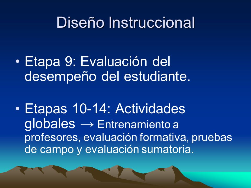 Diseño Instruccional Etapa 9: Evaluación del desempeño del estudiante.