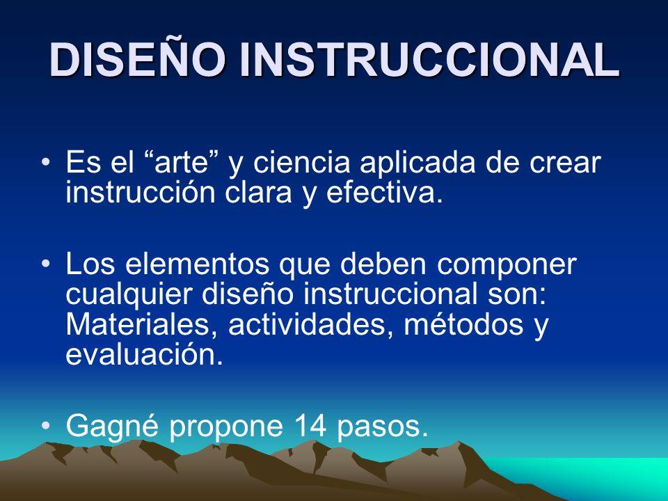 DISEÑO INSTRUCCIONAL Es el arte y ciencia aplicada de crear instrucción clara y efectiva.