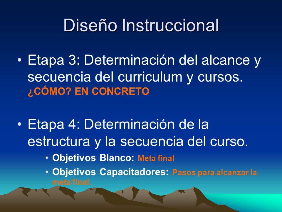 Diseño Instruccional Etapa 3: Determinación del alcance y secuencia del curriculum y cursos. ¿CÓMO EN CONCRETO.