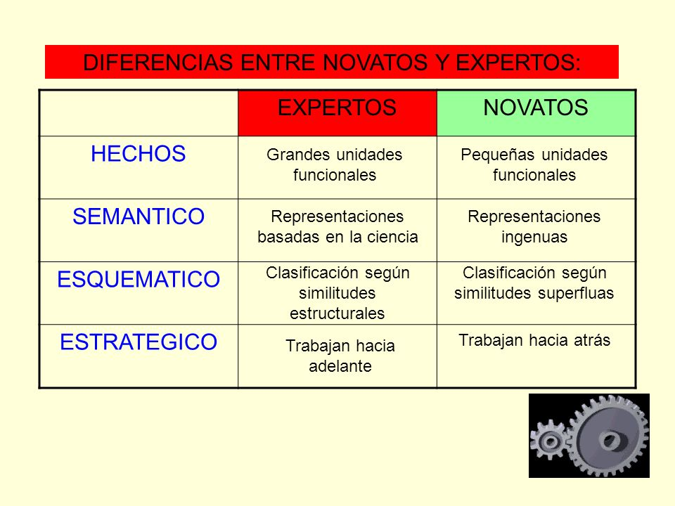 DIFERENCIAS ENTRE NOVATOS Y EXPERTOS: EXPERTOS NOVATOS HECHOS