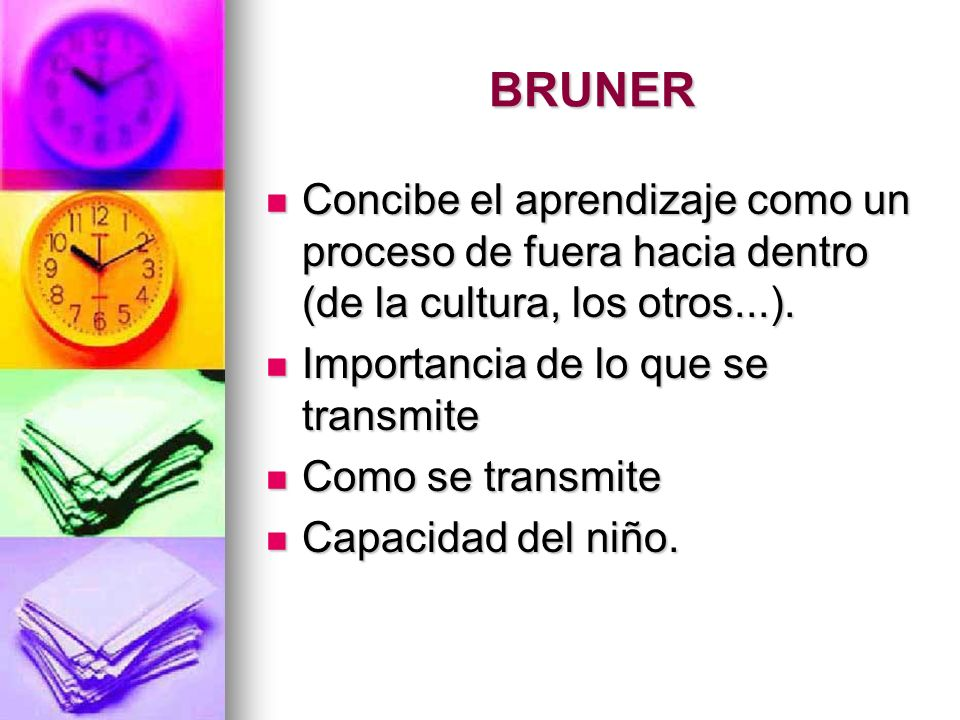 BRUNER Concibe el aprendizaje como un proceso de fuera hacia dentro (de la cultura, los otros...). Importancia de lo que se transmite.