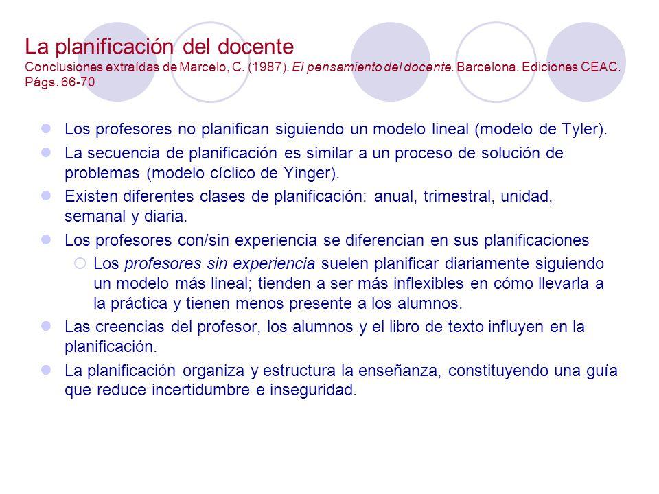 La planificación del docente Conclusiones extraídas de Marcelo, C