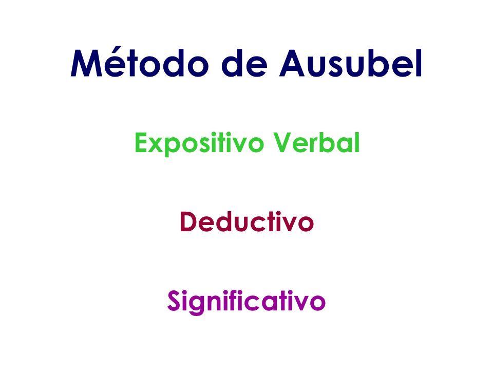 Método de Ausubel Expositivo Verbal Deductivo Significativo