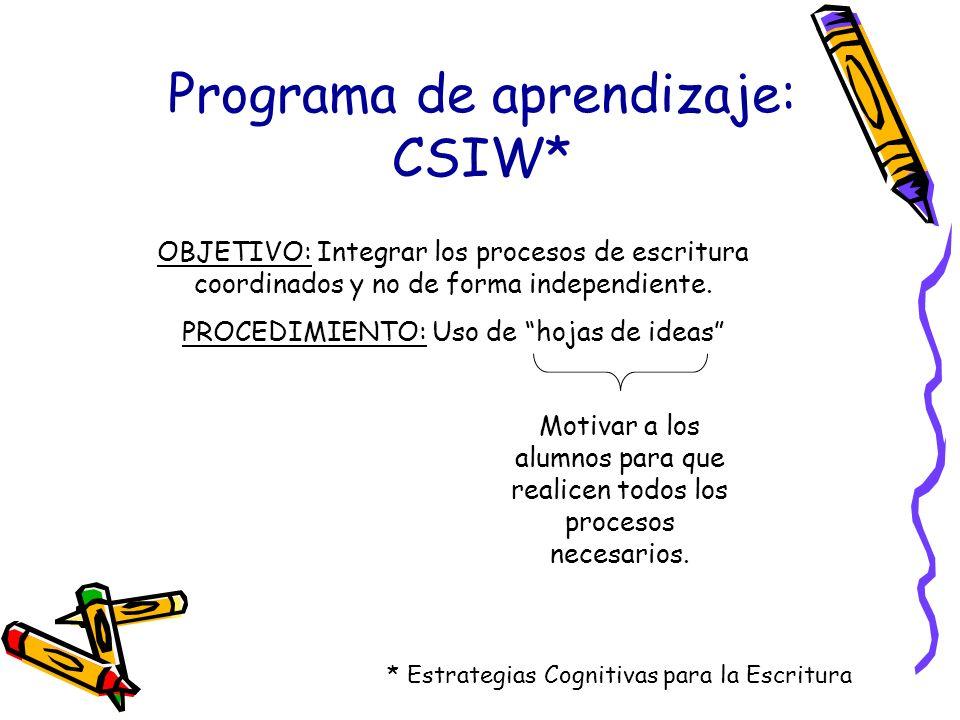 Programa de aprendizaje: CSIW*