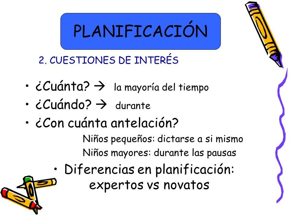 Diferencias en planificación: expertos vs novatos