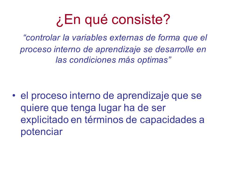¿En qué consiste controlar la variables externas de forma que el proceso interno de aprendizaje se desarrolle en las condiciones más optimas
