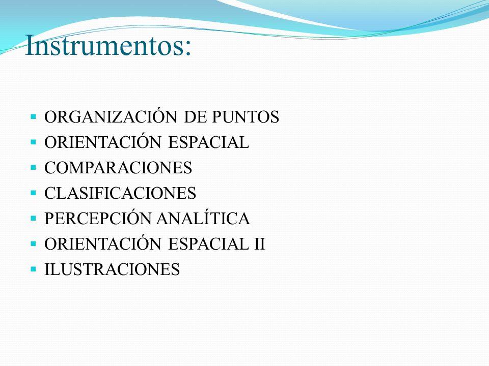 Instrumentos: ORGANIZACIÓN DE PUNTOS ORIENTACIÓN ESPACIAL