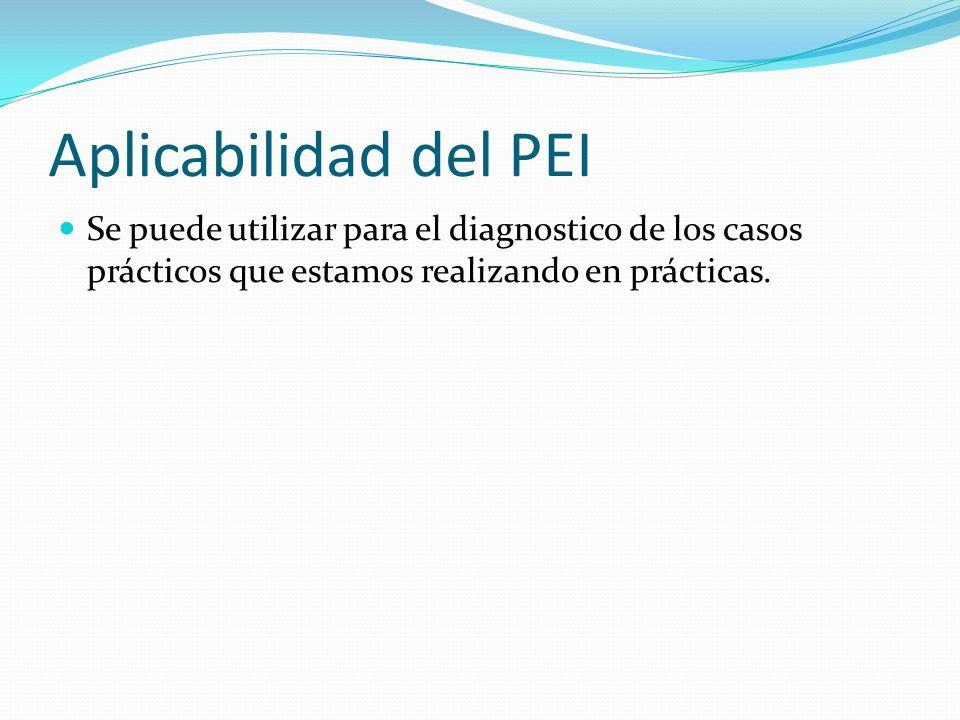 Aplicabilidad del PEI Se puede utilizar para el diagnostico de los casos prácticos que estamos realizando en prácticas.