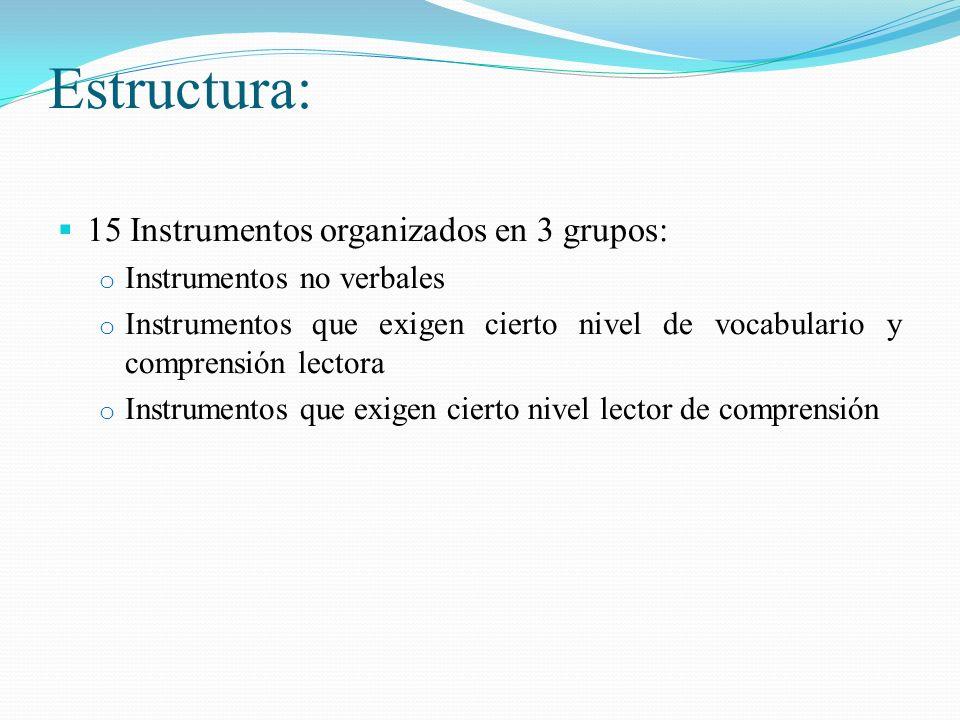 Estructura: 15 Instrumentos organizados en 3 grupos: