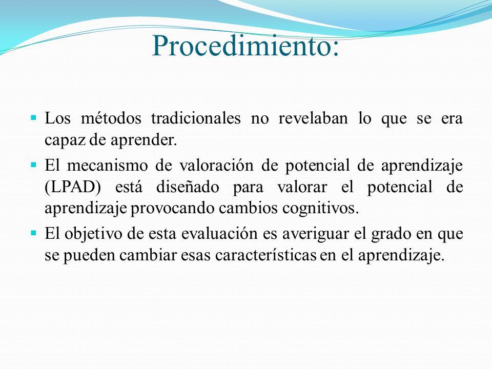 Procedimiento: Los métodos tradicionales no revelaban lo que se era capaz de aprender.