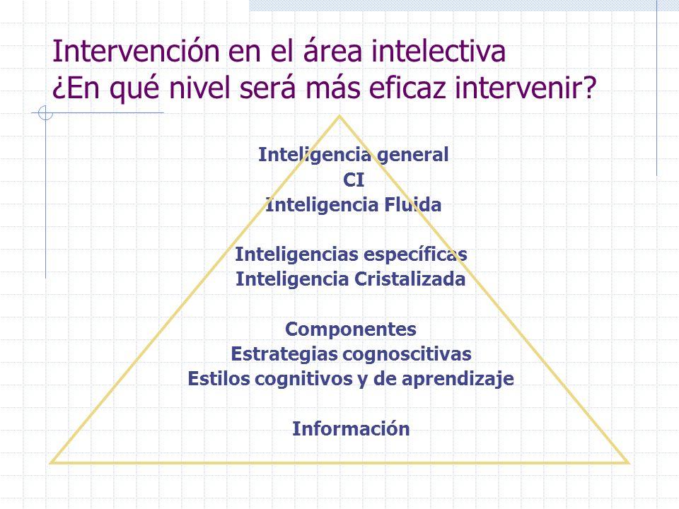 Intervención en el área intelectiva ¿En qué nivel será más eficaz intervenir