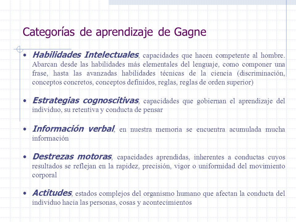 Categorías de aprendizaje de Gagne